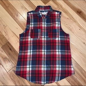 Abercrombie & Fitch Plaid Sleeveless Button M